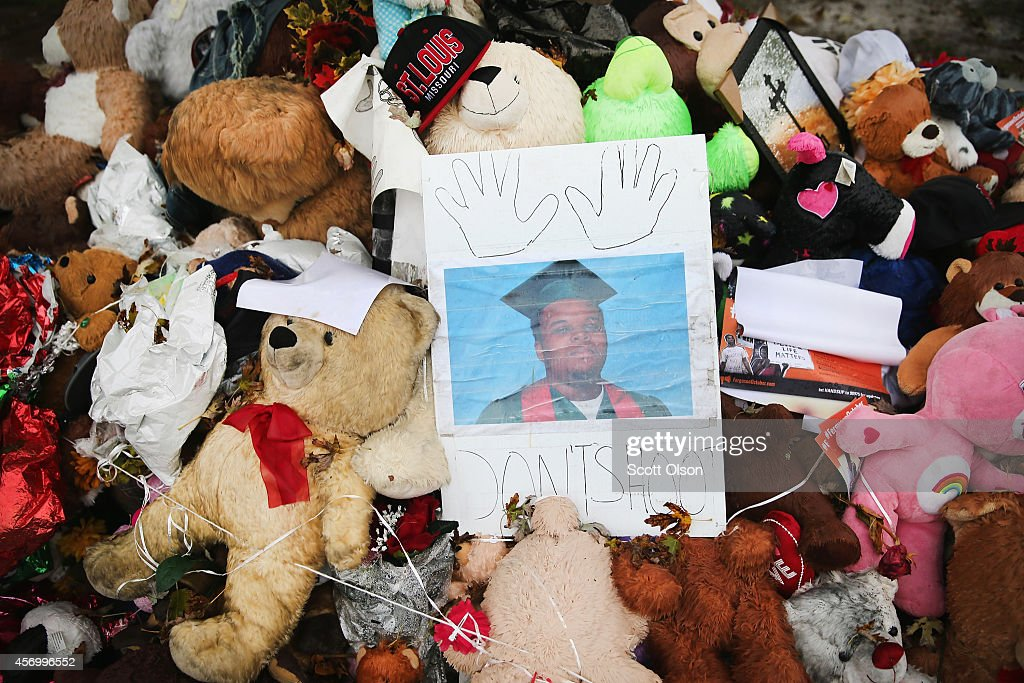 A makeshift memorial sits near the spot where 18yearold Michael Brown was shot and killed by a police officer on October 10 2014 in Ferguson Missouri...