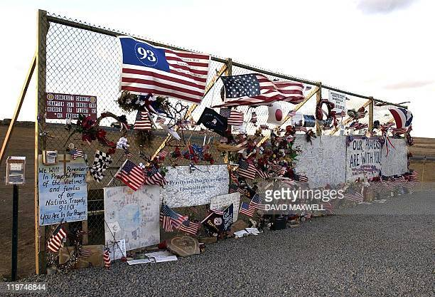 A makeshift memorial stands 10 March 2002 at a site overlooking the field where United Airlines flight 93 crashed in Shanksville Pennsylvania on 11...