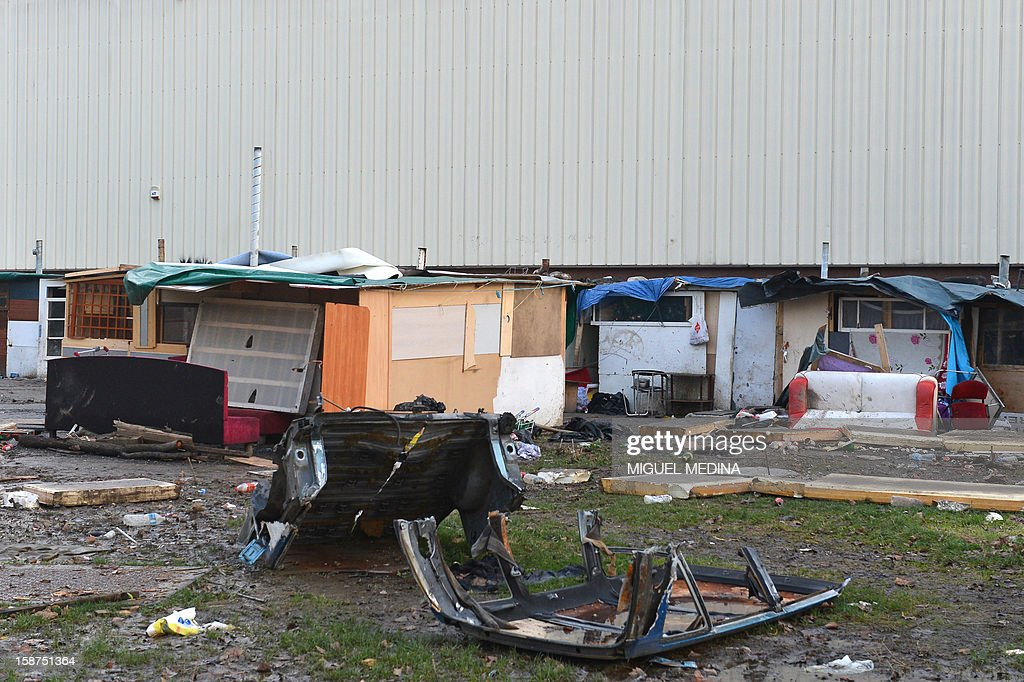 Makeshift shelters are pictured in a slum area in Bezons, northern Paris, on December 27, 2012.
