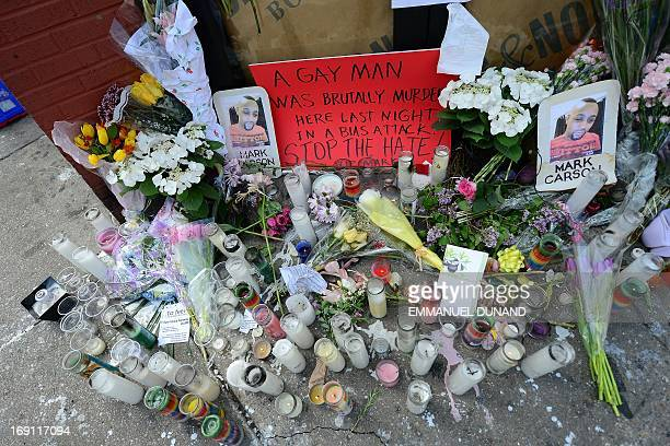 A makeshift shrine is set on the location where Mark Carson a gay man was shot dead in what police are calling a hate crime in Greenwich Village in...
