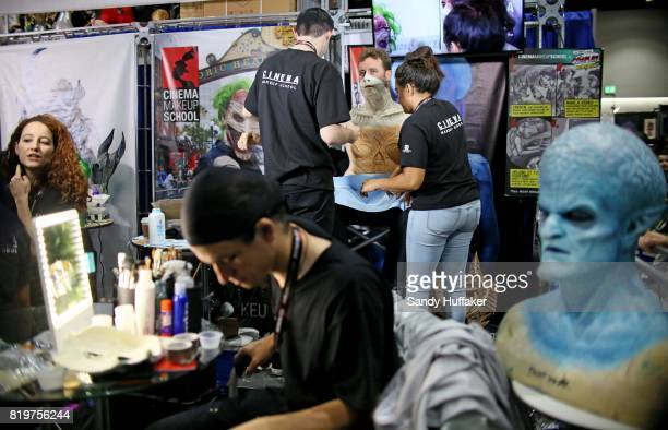Makeup artiest at the Cinema Makeup School booth at Comic Con International on July 20 2017 in San Diego California Comic Con International is North...