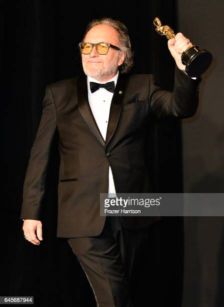 Makeup artist Alessandro Bertolazzi winner of the Best Makeup and Hairstyling award for 'Suicide Squad' poses in the press room during the 89th...