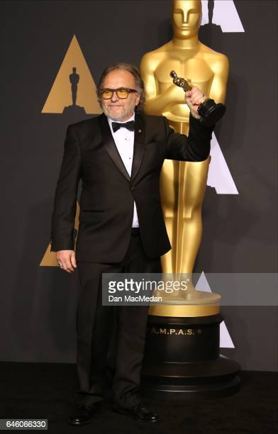 Makeup artist Alessandro Bertolazzi winner of the Best Makeup and Hairstyling award for 'Suicide Squad' poses in the press room at the 89th Annual...