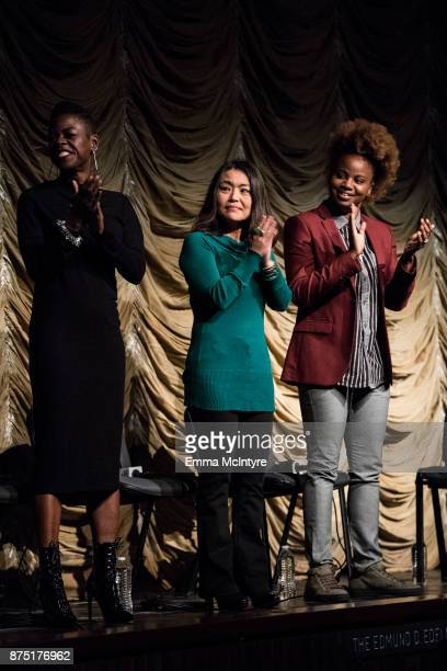 Makeup artist Angie Wells editor Mako Kamitsuna and director Dee Rees speak onstage at 'Film Independent at LACMA presents 'Mudbound' screening And...