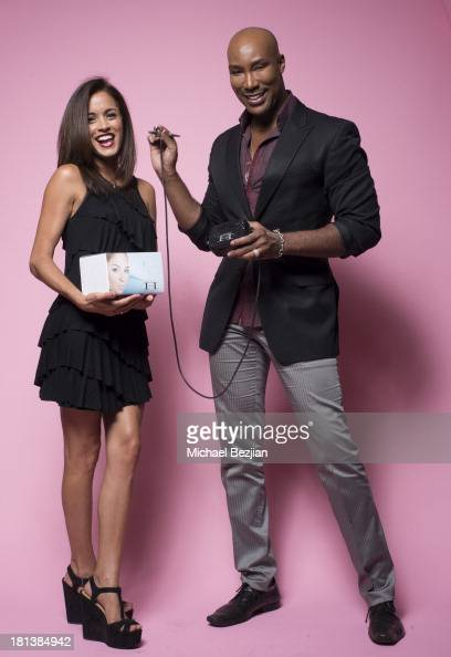 Makeup artist Elena Adorno and Marc Harvey of 'Element 2 Beauty' at the Mark Kearney Group 'Iced Out' Luxury Emmy Suite on September 19 2013 in Los...