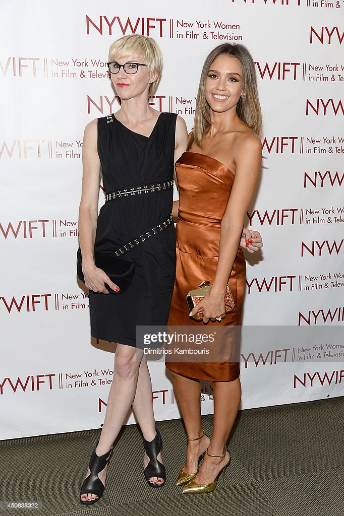 Makeup artist Evelyne Noraz (L) and actress <a gi-track='captionPersonalityLinkClicked' href=/galleries/search?phrase=Jessica+Alba&family=editorial&specificpeople=201811 ng-click='$event.stopPropagation()'>Jessica Alba</a> attend the 2014 New York Women In Film And Television 'Designing Women' Awards Gala at McGraw Hill Building on June 18, 2014 in New York City.
