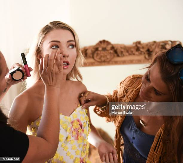 Makeup Artist Jade Martinez and Stylist Ali Levine doing Elise Luthman's make up and finishing look at Ali Levine styles at The Artists Project TAP...