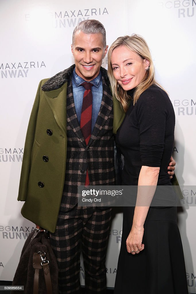 Make-up artist <a gi-track='captionPersonalityLinkClicked' href=/galleries/search?phrase=Jay+Manuel&family=editorial&specificpeople=557434 ng-click='$event.stopPropagation()'>Jay Manuel</a> (L) and designer <a gi-track='captionPersonalityLinkClicked' href=/galleries/search?phrase=Lubov+Azria&family=editorial&specificpeople=2281952 ng-click='$event.stopPropagation()'>Lubov Azria</a> pose backstage at the BCBGMAXAZRIA Fall 2016 fashion show during New York Fashion Week: The Shows at The Dock, Skylight at Moynihan Station on February 11, 2016 in New York City.