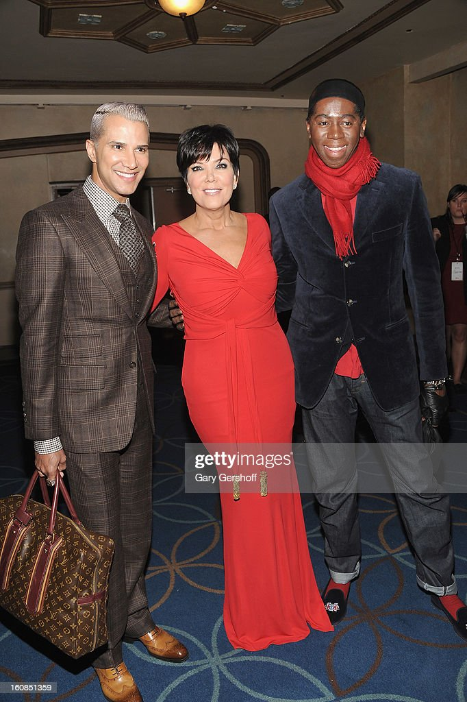Make-up artist <a gi-track='captionPersonalityLinkClicked' href=/galleries/search?phrase=Jay+Manuel&family=editorial&specificpeople=557434 ng-click='$event.stopPropagation()'>Jay Manuel</a>, <a gi-track='captionPersonalityLinkClicked' href=/galleries/search?phrase=Kris+Jenner&family=editorial&specificpeople=762610 ng-click='$event.stopPropagation()'>Kris Jenner</a> and TV personality Jay Alexander attend The Heart Truth's Red Dress Collection during Fall 2013 Mercedes-Benz Fashion Week at Hammerstein Ballroom on February 6, 2013 in New York City.