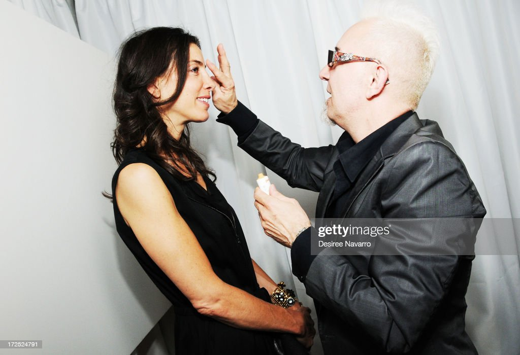 Makeup Artist Jim Crawford applies Nanaoblur beauty product on guests at Indeed Laboratories official U.S. launch party at No. 8 Nightclub (New York, NY). New York City's beauty elite were in attendance as hot, new, global skin care brand announces U.S. debut at Walgreens nationwide on June 27, 2013 in New York City.