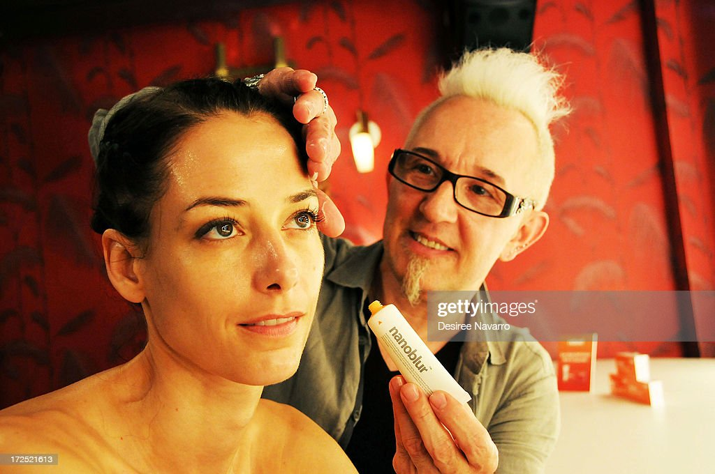 Makeup Artist Jim Crawford applies Nanaoblur beauty product on model at Indeed Laboratories official U.S. launch party at No. 8 Nightclub (New York, NY). New York City's beauty elite were in attendance as hot, new, global skin care brand announces U.S. debut at Walgreens nationwide on June 27, 2013 in New York City.