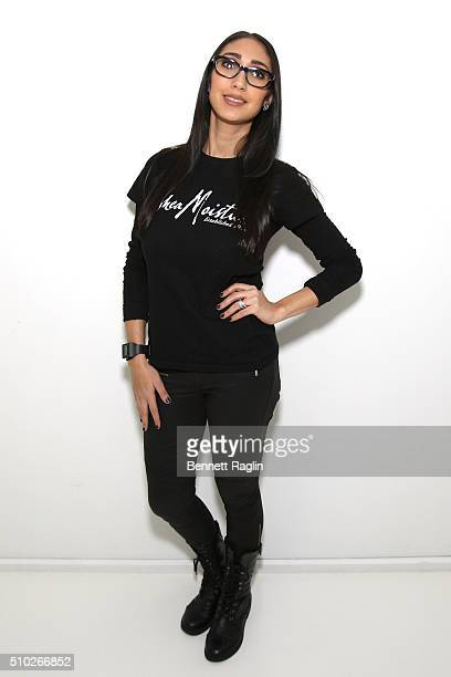 Makeup artist Lea Esposito poses at SheaMoisture at Laquan Smith F/W 2016 NYFW at Jack Studios on February 14 2016 in New York City