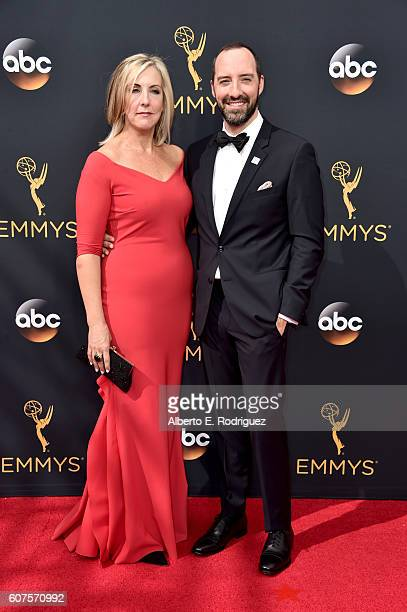 Makeup artist Martel Thompson and actor Tony Hale attend the 68th Annual Primetime Emmy Awards at Microsoft Theater on September 18 2016 in Los...