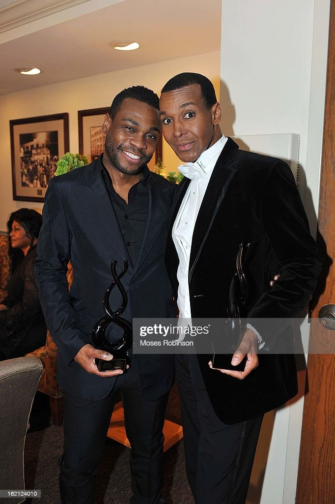 Makeup Artist Merrell Hollis and Former 'Real Housewives of Atlanta' star Dwight Eubanks appear at the 2013 Bronner Bros. ICON Awards Presented By Clairol - Backstage on February 18, 2013 in Atlanta, United States.