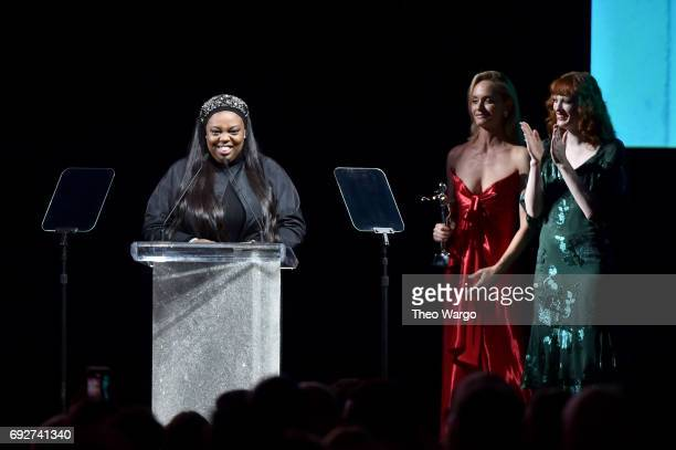 Makeup artist Pat McGrath accepts the Founder's Award onstage during the 2017 CFDA Fashion Awards at Hammerstein Ballroom on June 5 2017 in New York...