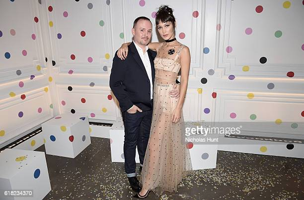 Makeup artist Peter Philips and model Bella Hadid attend Dior Beauty celebrates The Art of Color with Peter Philips on October 25 2016 in New York...