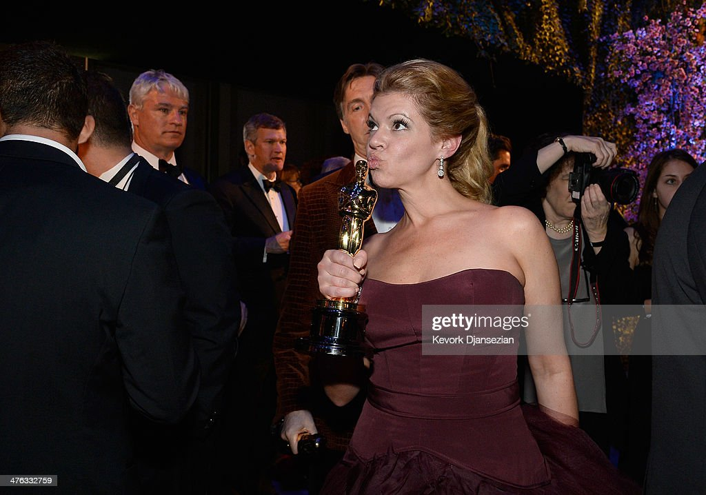 Makeup artist Robin Mathews, winner of Best Achievement in Makeup and Hairstyling attends the Oscars Governors Ball at Hollywood & Highland Center on March 2, 2014 in Hollywood, California.