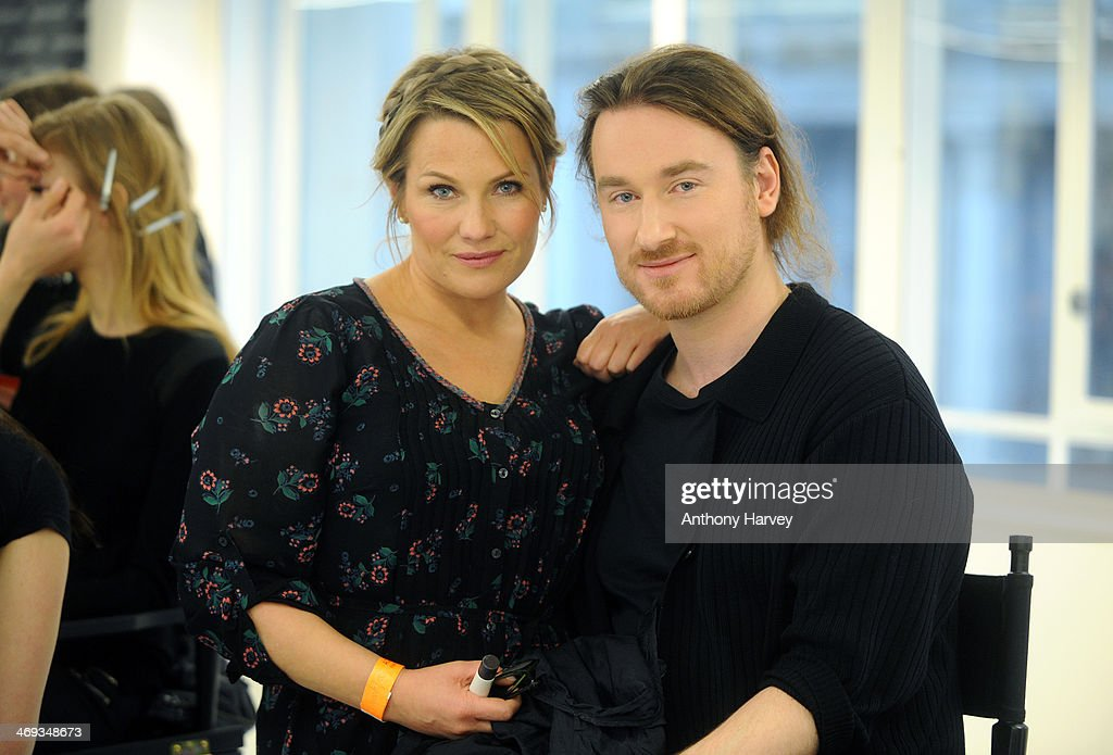 Makeup artist SarahJane Froom and designer Mark Fast backstage at the Mark Fast show at London Fashion Week AW14 at Aldwych House on February 14 2014...