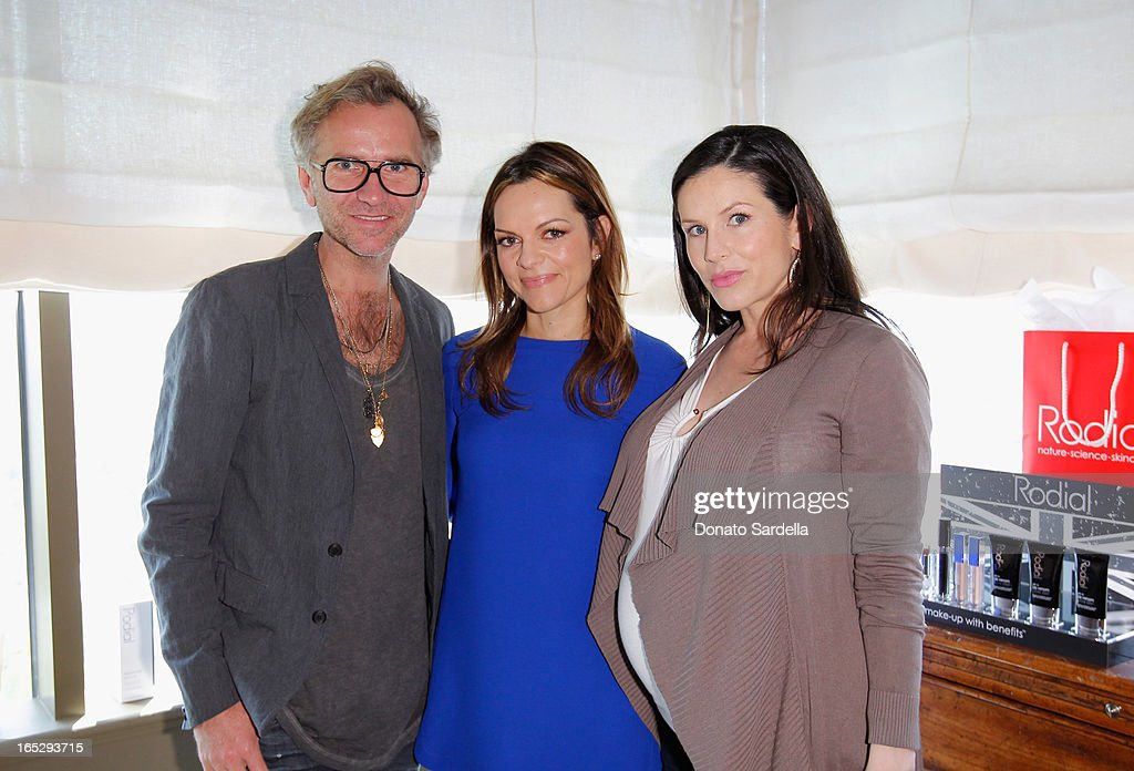 Makeup artist Torsten Witte, founder of Rodial Skincare Maria Hatzistefanis and makeup artist Sarah Sullivan attend the Rodial 10th Anniversary Luncheon on April 2, 2013 in West Hollywood, California.