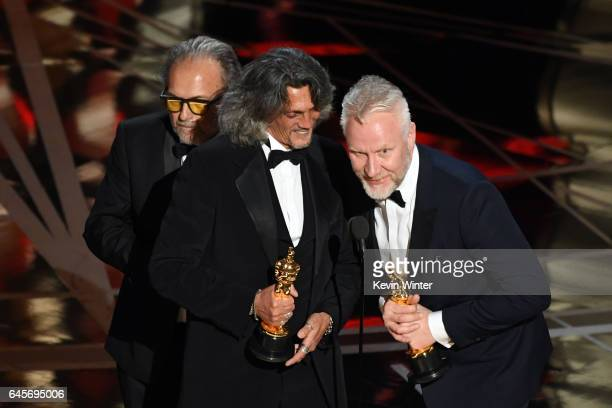 Makeup artists Alessandro Bertolazzi Giorgio Gregorini and Christopher Nelson accept Best Makeup and Hairstyling for 'Suicide Squad' onstage during...