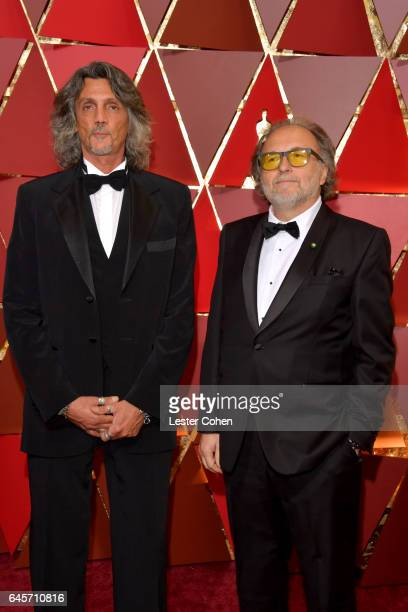 Makeup artists Giorgio Gregorini and Alessandro Bertolazzi attend the 89th Annual Academy Awards at Hollywood Highland Center on February 26 2017 in...