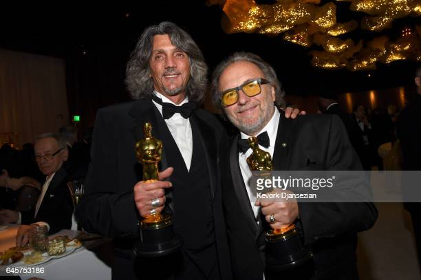 Makeup artists Giorgio Gregorini and Alessandro Bertolazzi attend the 89th Annual Academy Awards Governors Ball at Hollywood Highland Center on...