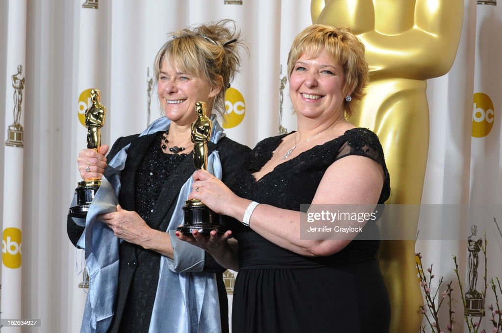 Makeup artists Lisa Westcott (L) and Julie Dartnell, winners of the Best Makeup and Hairstyling award for 'Les Miserables,' in the press room during the 85th Annual Academy Awards at Loews Hollywood Hotel on February 24, 2013 in Hollywood, California.