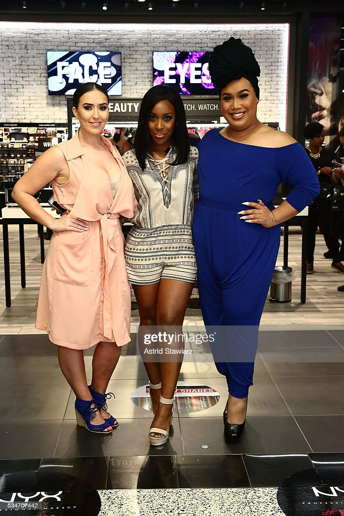 Makeup artists Vjosa Pacuku, Jackie Aina and Patrick Starr attend NYX Professional Makeup Store Kings Plaza Ribbon Cutting on May 25, 2016 in Brooklyn, New York.
