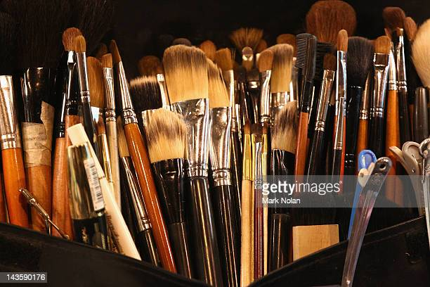 Makeup brushes are on display backstage ahead of the Ksubi show on day one of MercedesBenz Fashion Week Australia Spring/Summer 2012/13 at the...