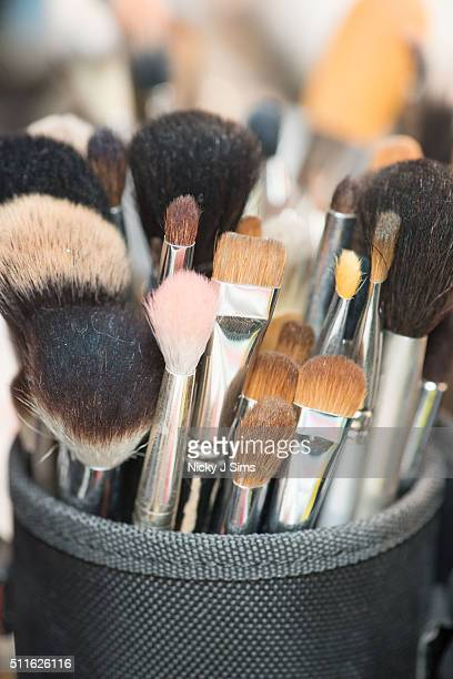 Makeup brushes are seen backstage prior to the Romhir show on day 3 of London Fashion Week Autumn Winter 2016 at Fashion Scout Venue on February 21...