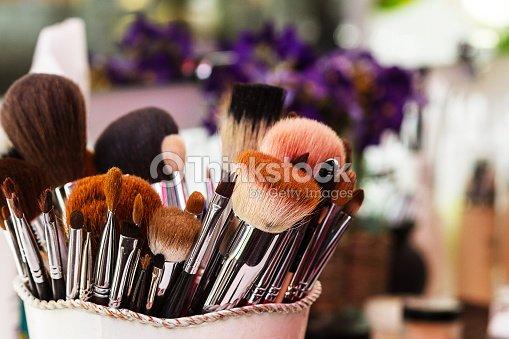 Makeup Brushes, workplace makeup artist : Stock Photo