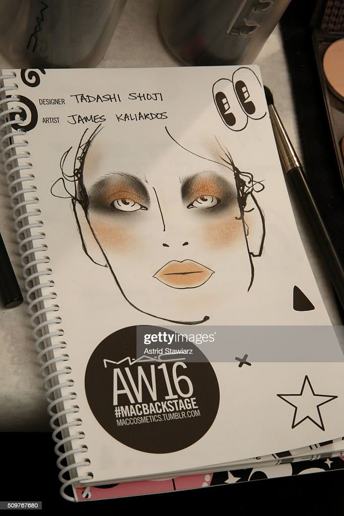Make-up design on display backstage at the Tadashi Shoji Fall 2016 fashion show during New York Fashion Week: The Shows at The Arc, Skylight at Moynihan Station on February 12, 2016 in New York City.