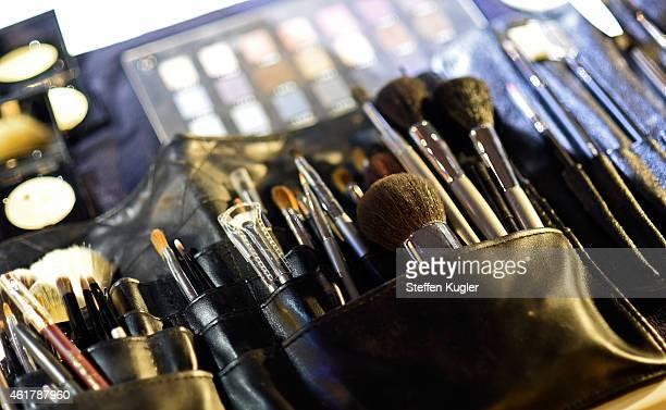 Makeup equipment is seen backstage ahead of the Kilian Kerner show during the MercedesBenz Fashion Week Berlin Autumn/Winter 2015/16 at Kosmos on...