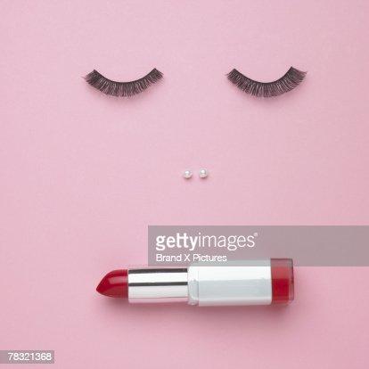Makeup forming a woman's face
