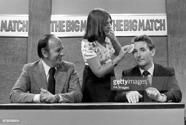 Makeup girl Linda King powders the face of Derby County manager Brian Clough at the South Bank Television Centre