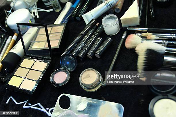 Makeup is seen backstage ahead of the Macgraw show at MercedesBenz Fashion Week Australia 2015 at Carriageworks on April 13 2015 in Sydney Australia