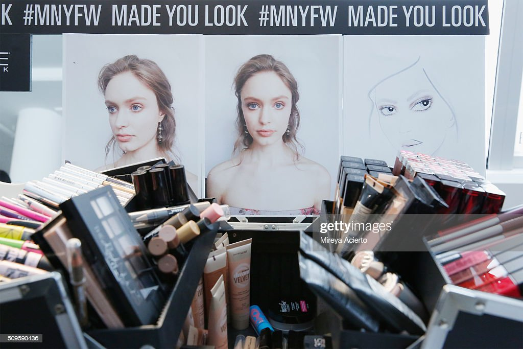 Makeup is seen backstage at the Brock Collection fashion show during Fall 2016 MADE Fashion Week at Milk Studios on February 11, 2016 in New York City.