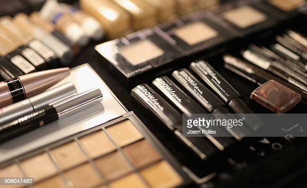 MakeUp products are seen backstage ahead of the Dimitri show during the MercedesBenz Fashion Week Berlin Autumn/Winter 2016 at Brandenburg Gate on...