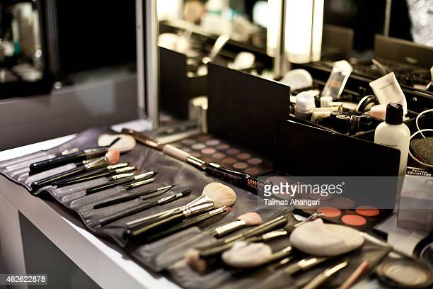 Makeup products are seen backstage ahead of the Passionata show during the Platform Fashion February 2015 on February 1 2015 in Duesseldorf Germany