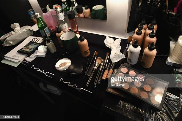 MakeUp products by MAC Cosmetics are seen backstage ahead of the Aslialev show during MercedesBenz Fashion Week Istanbul at Zorlu Center on October...