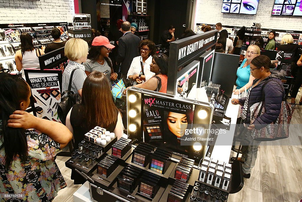 NYX makeup shoppers inside the NYX Professional Makeup Store Kings Plaza Ribbon Cutting and Store Opening on May 25, 2016 in Brooklyn, New York.