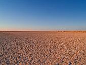 Makgadikgadi Pans National Park, scenic large flat area of salt pan desert of Botswana