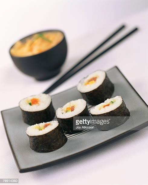 Maki Sushi on Gray Plate