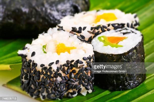 Maki sushi with sesame seeds