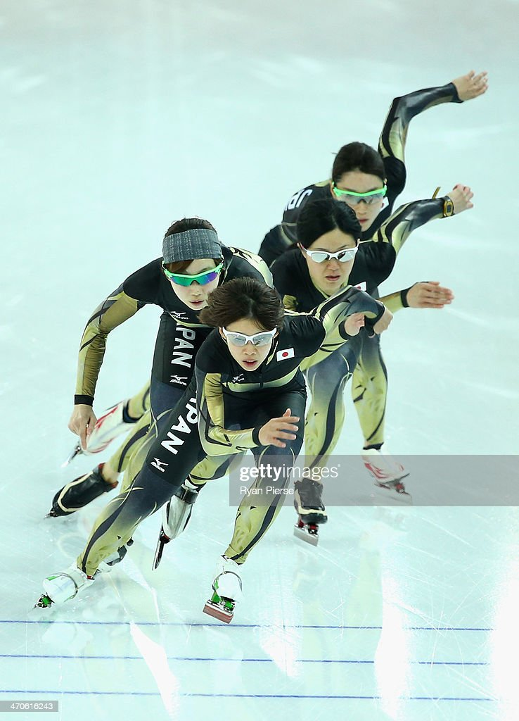 Maki Tabata, Ayaka Kikuchi, Nana Takagi and Misaki Oshigiri of Japan train during Ladies Pursuit Official Training during day 13 of the Sochi 2014 Winter Olympics at Adler Arena on February 20, 2014 in Sochi, Russia.