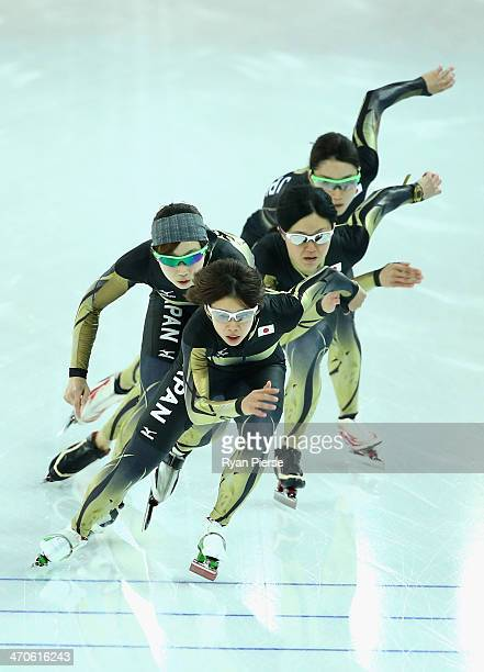 Maki Tabata Ayaka Kikuchi Nana Takagi and Misaki Oshigiri of Japan train during Ladies Pursuit Official Training during day 13 of the Sochi 2014...