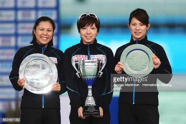 Maki Tsuji Nao Kodaira and Erina Kamiya of Japan pose in the overall Ladies 500m medal ceremony during day 2 of the ISU World Cup Speed Skating at...