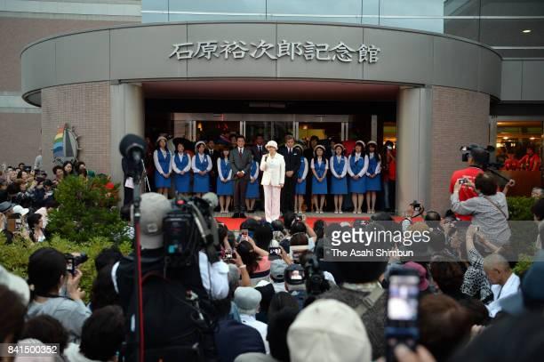 Makiko Ishihara wife of late actor Yujiro Ishihara addresses during the closing ceremomy of the Yujiro Ishihara Museum on August 31 2017 in Otaru...