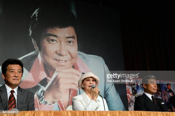 Makiko Ishihara wife of late actor Yujiro Ishihara speaks while actors Masaki Kanda and Hiroshi Tachi listen during a press conference at the Yujiro...