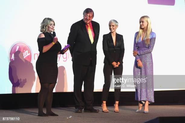 Making a Difference award Bryony Gordon president of Mind Stephen Fry and Mind ambassadors Frankie Bridge and Fearne Cotton on stage at the Virgin...